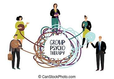 groupe, gens, concept., résoudre, illustration, vecteur, problème, psychothérapie, heureux
