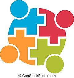 groupe, gens., connection., communauté, vecteur, collaboration, 4, conception