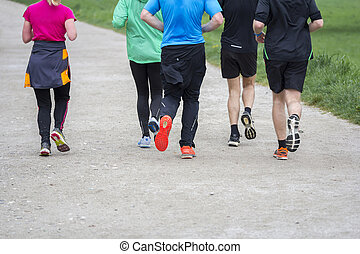 groupe, gens, courant, jogging, fitness, sport, route, dehors