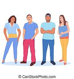 groupe, gens, debout, ensemble, multi ethnique