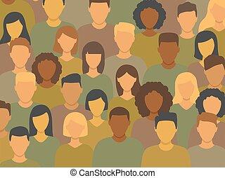 groupe, gens, divers, debout, ensemble, multiculturel