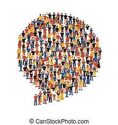 groupe, gens, forme, divers, bavarder, social, bulle