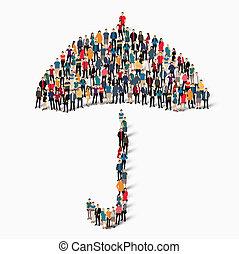 groupe, gens, forme, parapluie