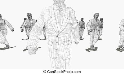 groupe, gens, forme, varies, hommes affaires, marcher