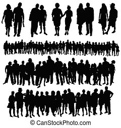 groupe, gens, grand, couple, vecteur, silhouette