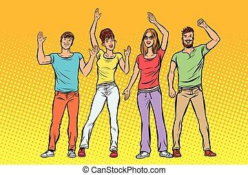 groupe, gens, greeting., onduler, leur, mains