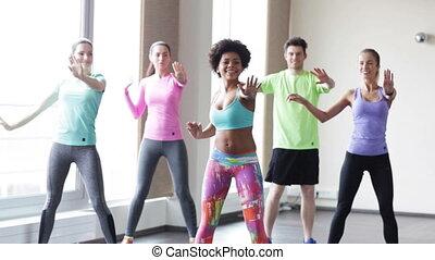 groupe, gens, gymnase, danse, studio, sourire, ou