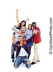 groupe, gens, haut, sur,  -, bras, isolé, blanc, heureux