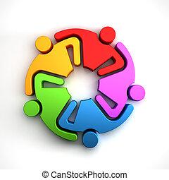 groupe, gens, illustration, rendre, collaboration, logo., 3d