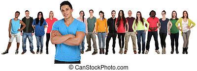 groupe, gens, isolé, jeune, bras croisés, équipe, blanc, amis