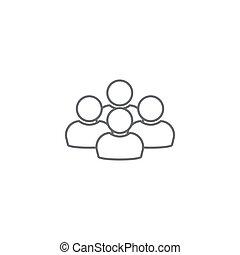 groupe, gens, isolé, vecteur, équipe, blanc, ou, icône