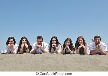 groupe, gens, jeune, amusez-vous, plage, heureux