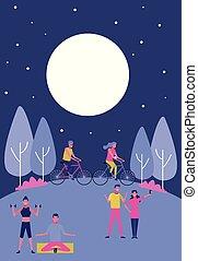 groupe, gens, parc, jeune, nuit tardive