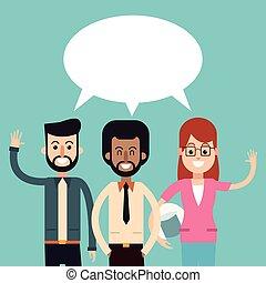 groupe, gens parler, parole, dialogue, bulle