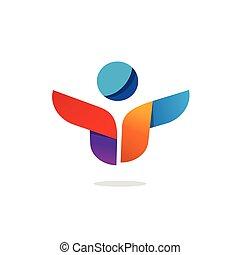 groupe, gens, résumé, Travail, idée, créatif, vecteur, équipe,  logo,  logotype, heureux