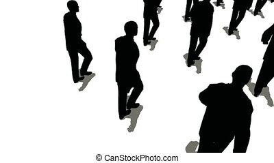 groupe, gens, sommet, forme, flèche, marcher, vue