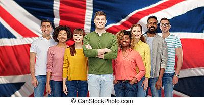 groupe, gens, sur, drapeau, anglaise, international