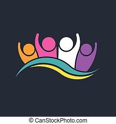 groupe, gens, vague, conception, fête, logo