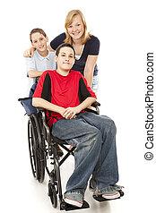 groupe gosses, -, une, handicapé