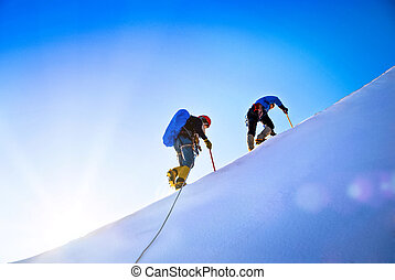 groupe, grimpeurs, summit., atteindre
