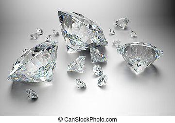 groupe, gris, fond, diamants