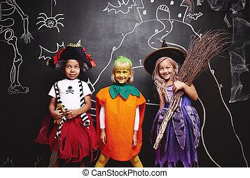 groupe, halloween, gosses