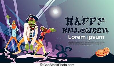 groupe, halloween, zombi, hipster, invitation, fête, carte, heureux