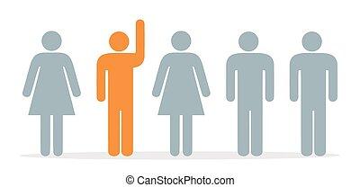 groupe, haut, mains