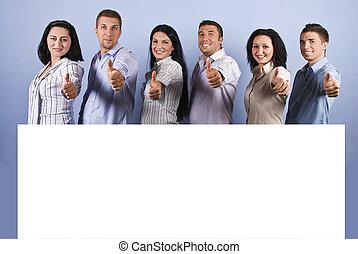 groupe, haut, pouces, vide, bannière, heureux