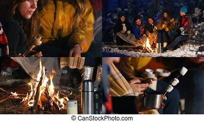 groupe, hiver, séance, -, ensemble, feu, 1, 4, amusement, manger, amis, avoir, forêt