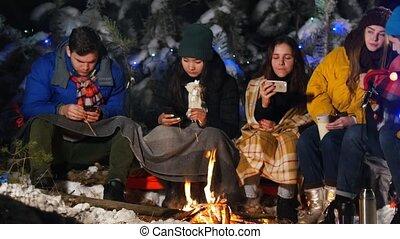 groupe, hiver, séance, fire., leur, forêt, social, phones., problème, amis
