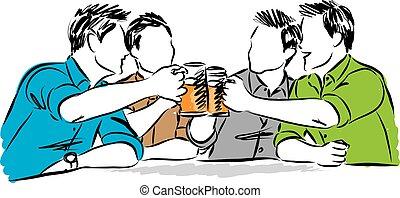 groupe, hommes, illustration, bière, boire, ami