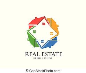 groupe, houses., circle., propriété, maisons, logo, vrai, réseau, concept, properties., coloré, recherche