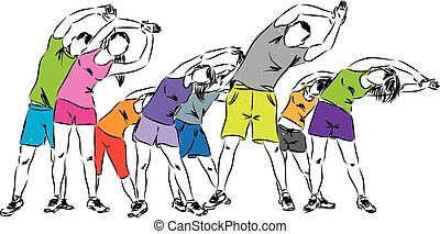 groupe, illustra, exercisme, gens