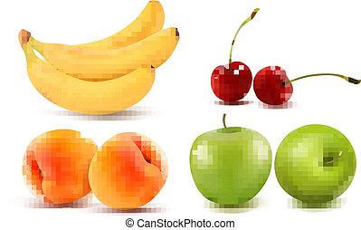 groupe, illustration., coloré, fruit., vecteur, frais