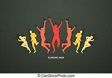 groupe, illustration., concept., business., runners., vecteur, conception, sport