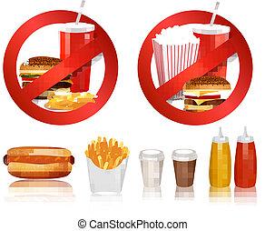 groupe, illustration., danger, nourriture, products.., étiquettes, deux, jeûne, vecteur
