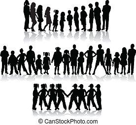 groupe, -, illustration, grand, enfants, silhouettes, vecteur