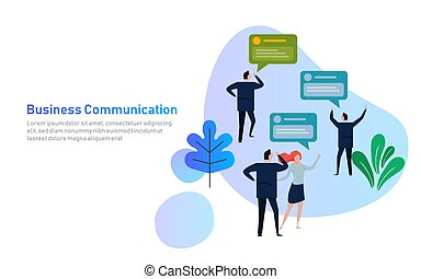 groupe, illustration., professionnels, communication, compagnie, réseau, vecteur, bavarder, social, discuter, constitué, bulle