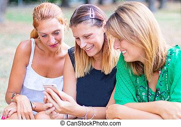 groupe, image, smartphones, ville, amis, utilisation
