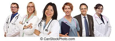 groupe, infirmières, fond, médecins, blanc, ou