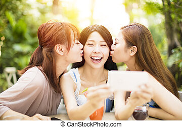 groupe, jardin, restaurant, selfie, amis, prendre