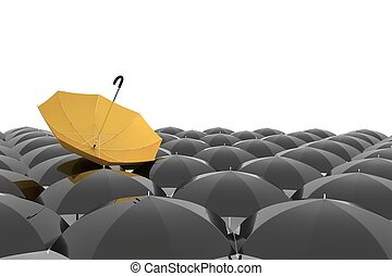 groupe, jaune, rendre, parapluie noir, 3d