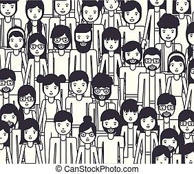 groupe, jeune, caractères, gens