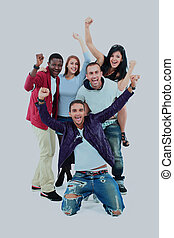 groupe jeunes gens, isolé, sur, white.