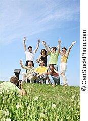 groupe, joyeusement, photographié