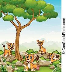 groupe, jungle, lionne, dessin animé
