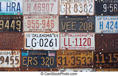 groupe, licence, vendange, américain, plaques, vieux