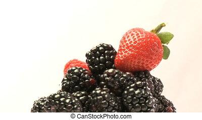 groupe, mûres, rotatif, fraises