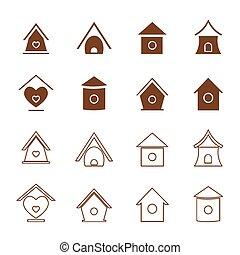 groupe, maisons, arrière-plan., vecteur, oiseau blanc